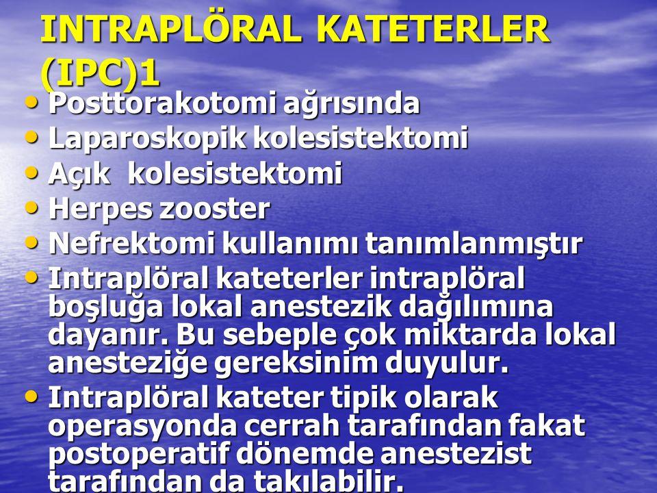 INTRAPLÖRAL KATETERLER (IPC)1 Posttorakotomi ağrısında Posttorakotomi ağrısında Laparoskopik kolesistektomi Laparoskopik kolesistektomi Açık kolesiste