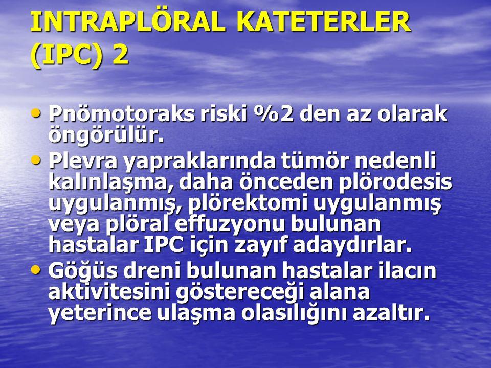 INTRAPLÖRAL KATETERLER (IPC) 2 Pnömotoraks riski %2 den az olarak öngörülür. Pnömotoraks riski %2 den az olarak öngörülür. Plevra yapraklarında tümör