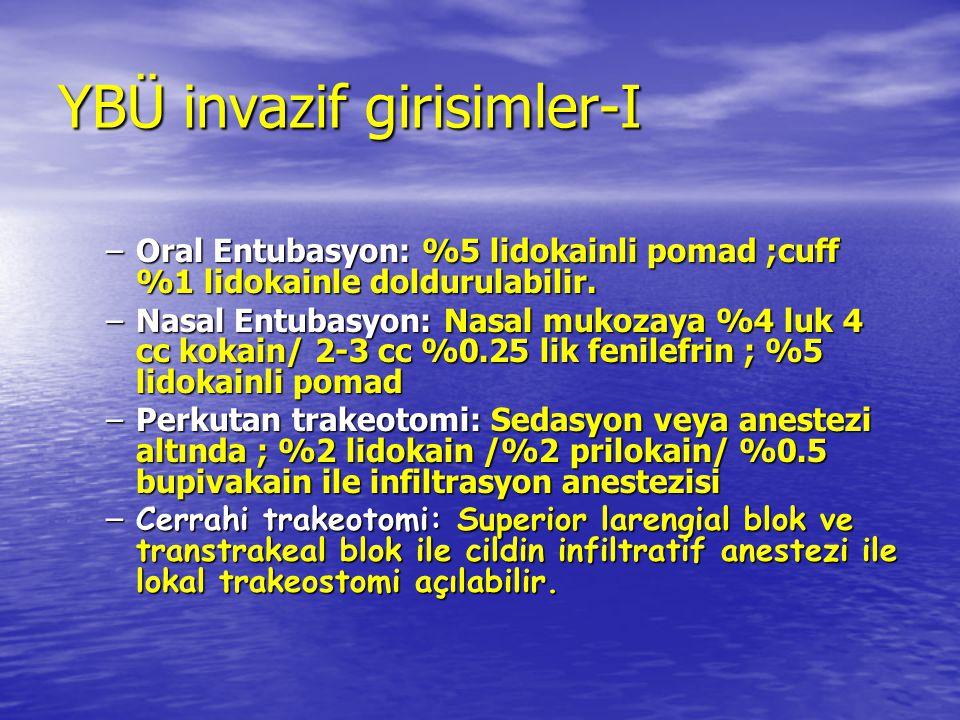 YBÜ invazif girisimler-I –Oral Entubasyon: %5 lidokainli pomad ;cuff %1 lidokainle doldurulabilir. –Nasal Entubasyon: Nasal mukozaya %4 luk 4 cc kokai