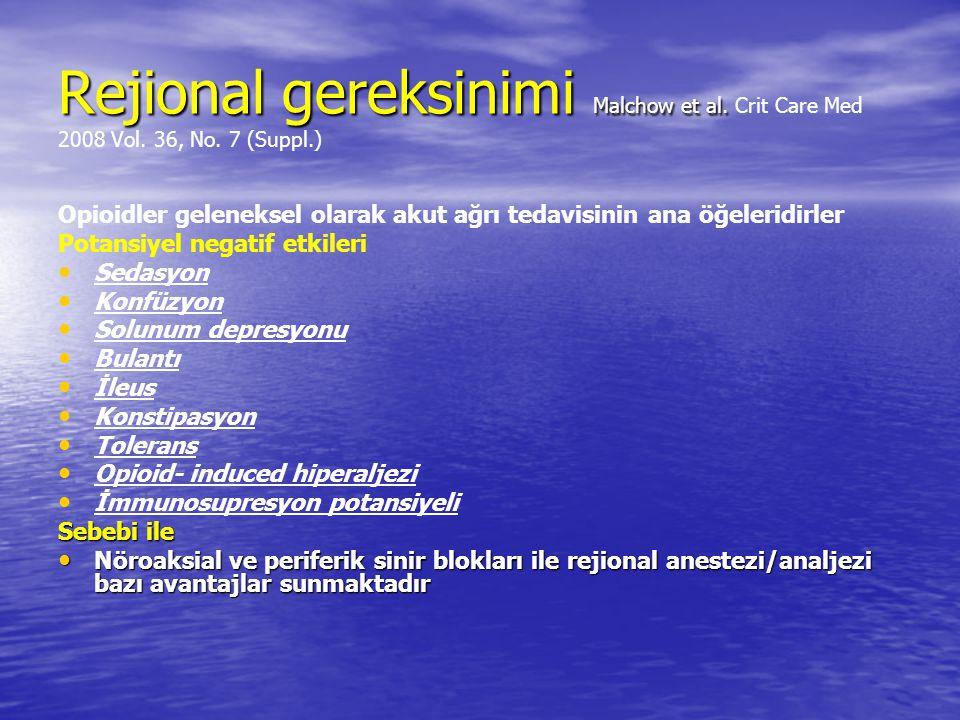 Rejional gereksinimi Malchow et al. Rejional gereksinimi Malchow et al. Crit Care Med 2008 Vol. 36, No. 7 (Suppl.) Opioidler geleneksel olarak akut ağ