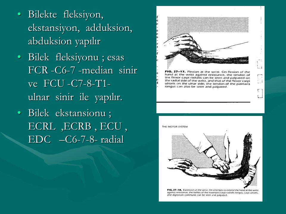 Bilekte fleksiyon, ekstansiyon, adduksion, abduksion yapılırBilekte fleksiyon, ekstansiyon, adduksion, abduksion yapılır Bilek fleksiyonu ; esas FCR -C6-7 -median sinir ve FCU -C7-8-T1- ulnar sinir ile yapılır.Bilek fleksiyonu ; esas FCR -C6-7 -median sinir ve FCU -C7-8-T1- ulnar sinir ile yapılır.