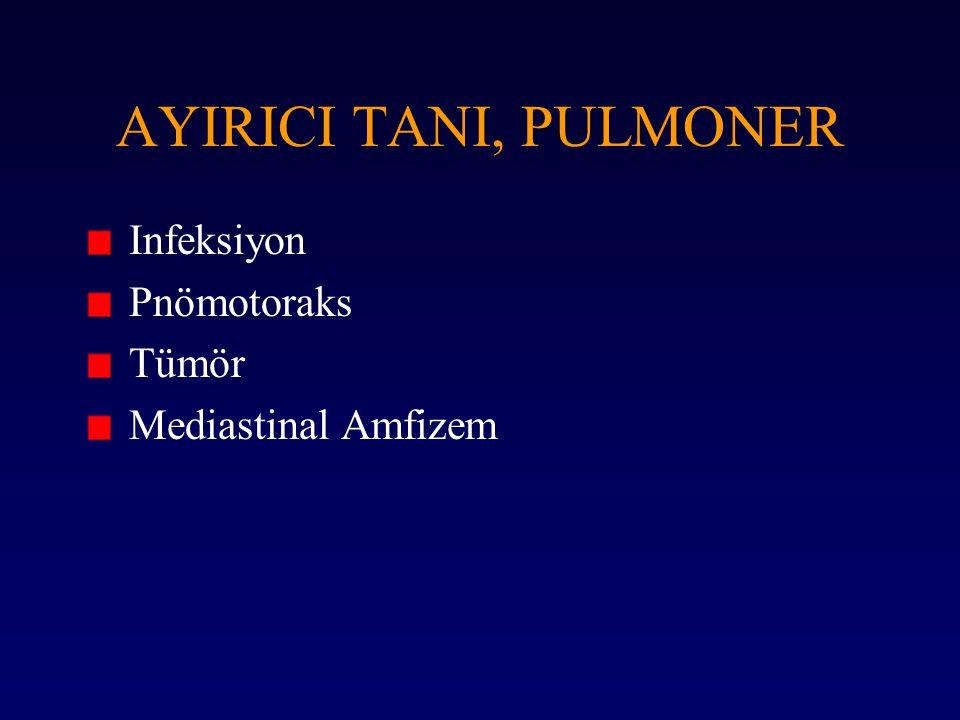 AYIRICI TANI, PULMONER Infeksiyon Pnömotoraks Tümör Mediastinal Amfizem