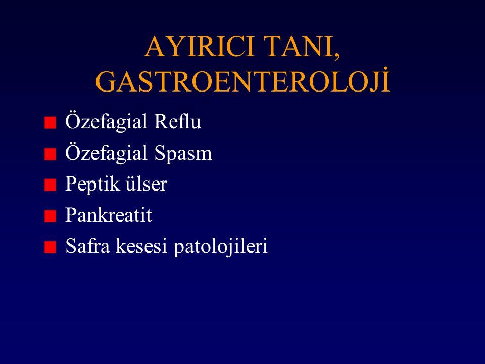 AYIRICI TANI, GASTROENTEROLOJİ Özefagial Reflu Özefagial Spasm Peptik ülser Pankreatit Safra kesesi patolojileri