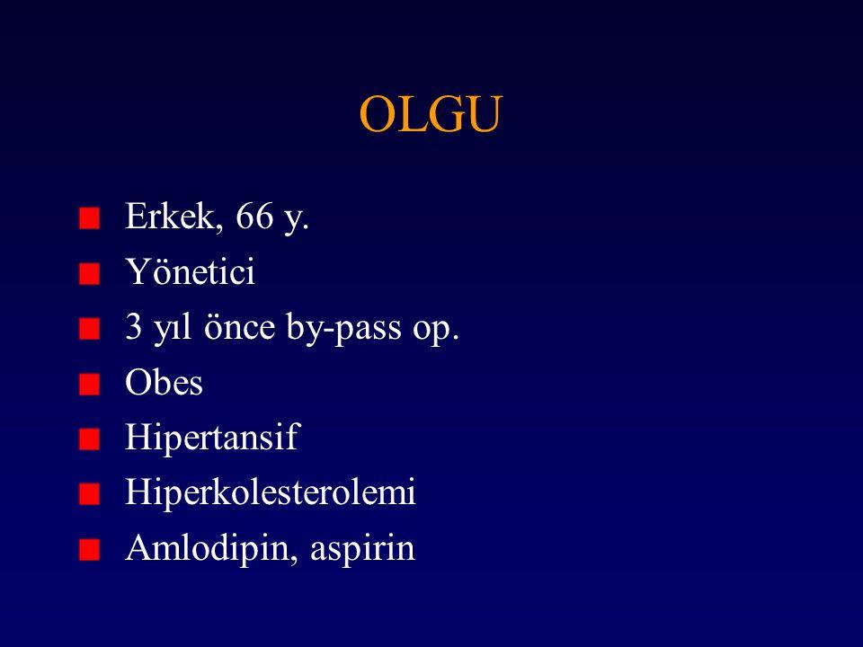 OLGU Erkek, 66 y. Yönetici 3 yıl önce by-pass op. Obes Hipertansif Hiperkolesterolemi Amlodipin, aspirin