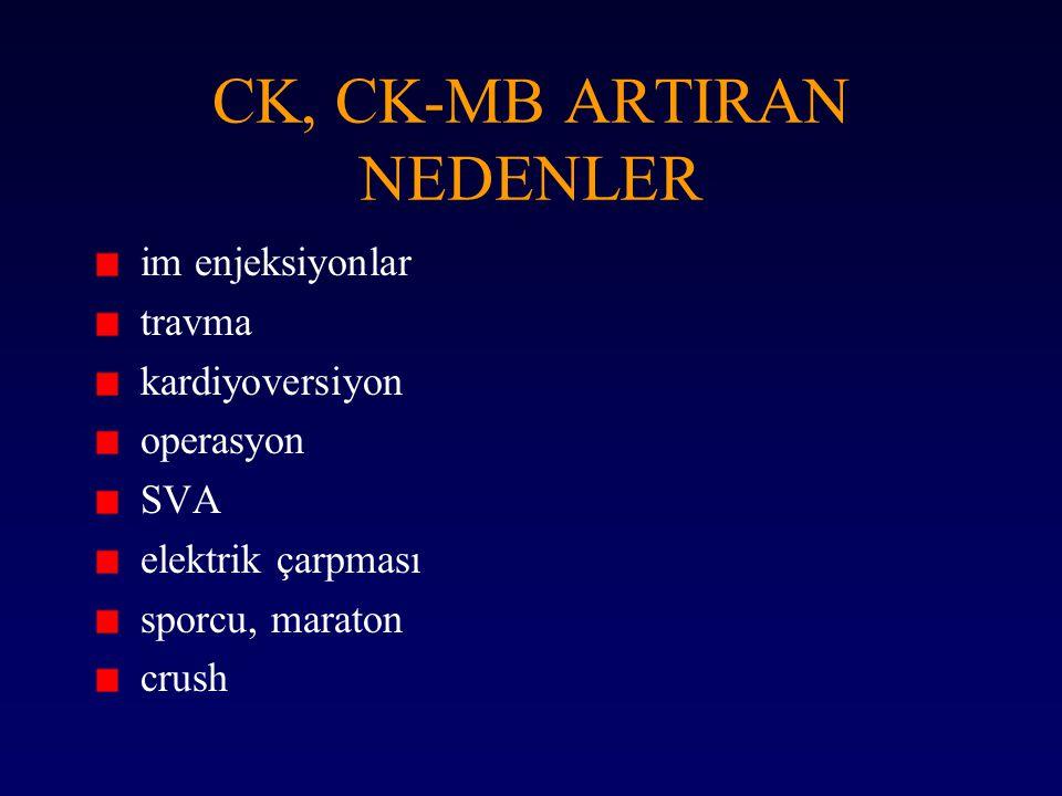 CK, CK-MB ARTIRAN NEDENLER im enjeksiyonlar travma kardiyoversiyon operasyon SVA elektrik çarpması sporcu, maraton crush
