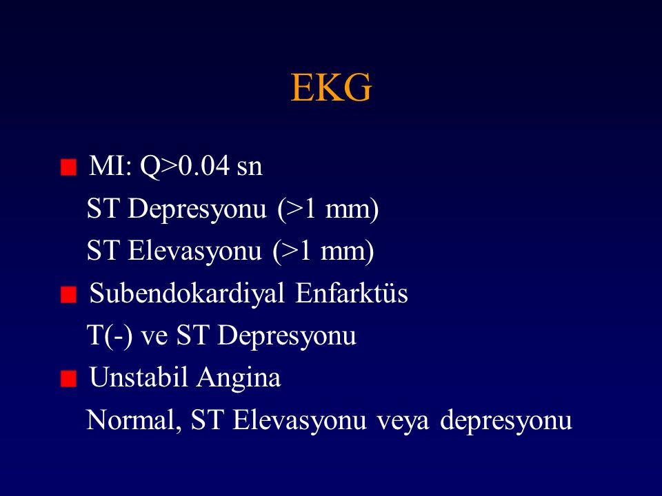 EKG MI: Q>0.04 sn ST Depresyonu (>1 mm) ST Elevasyonu (>1 mm) Subendokardiyal Enfarktüs T(-) ve ST Depresyonu Unstabil Angina Normal, ST Elevasyonu ve