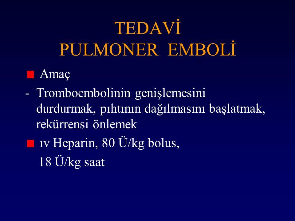 TEDAVİ PULMONER EMBOLİ Amaç -Tromboembolinin genişlemesini durdurmak, pıhtının dağılmasını başlatmak, rekürrensi önlemek ıv Heparin, 80 Ü/kg bolus, 18