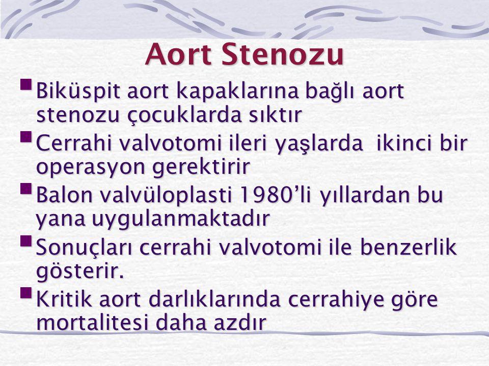 Aort Stenozu  Biküspit aort kapaklarına ba ğ lı aort stenozu çocuklarda sıktır  Cerrahi valvotomi ileri ya ş larda ikinci bir operasyon gerektirir 