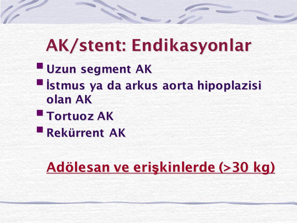 AK/stent: Endikasyonlar  Uzun segment AK  İ stmus ya da arkus aorta hipoplazisi olan AK  Tortuoz AK  Rekürrent AK Adölesan ve eri ş kinlerde (>30