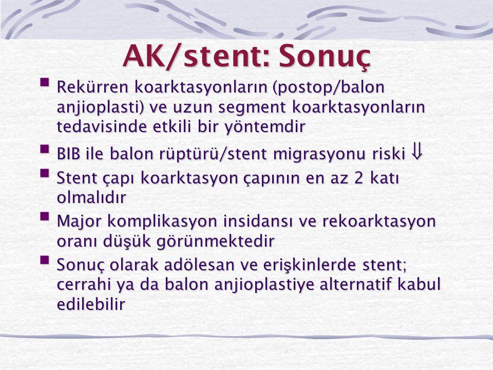 AK/stent: Sonuç  Rekürren koarktasyonların (postop/balon anjioplasti) ve uzun segment koarktasyonların tedavisinde etkili bir yöntemdir  BIB ile bal