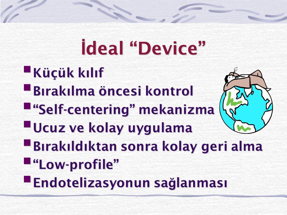 """İ deal """"Device""""  Küçük kılıf  Bırakılma öncesi kontrol  """"Self-centering"""" mekanizma  Ucuz ve kolay uygulama  Bırakıldıktan sonra kolay geri alma """