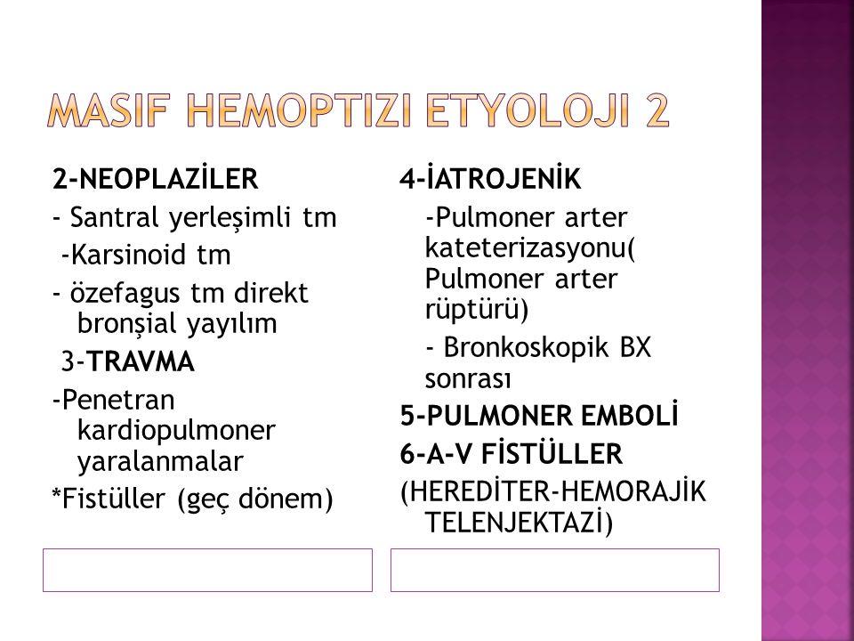 2-NEOPLAZİLER - Santral yerleşimli tm -Karsinoid tm - özefagus tm direkt bronşial yayılım 3-TRAVMA -Penetran kardiopulmoner yaralanmalar *Fistüller (g