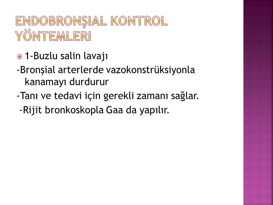  1-Buzlu salin lavajı -Bronşial arterlerde vazokonstrüksiyonla kanamayı durdurur -Tanı ve tedavi için gerekli zamanı sağlar. -Rijit bronkoskopla Gaa