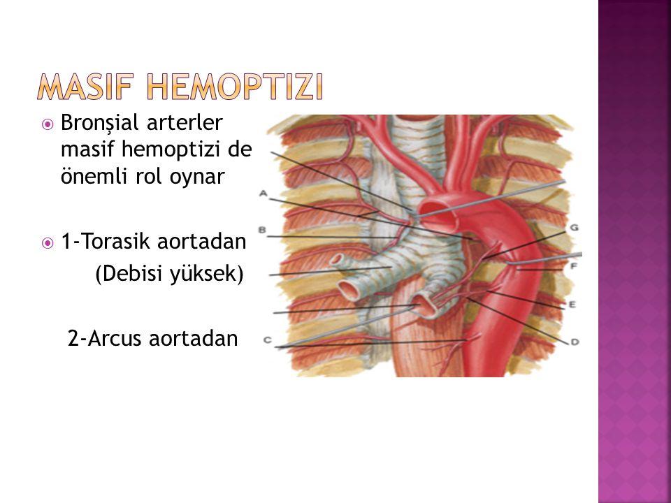  Bronşial arterler masif hemoptizi de önemli rol oynar  1-Torasik aortadan (Debisi yüksek) 2-Arcus aortadan