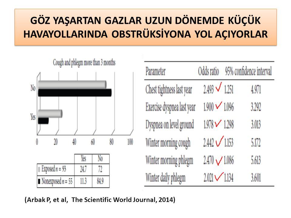 GÖZ YAŞARTAN GAZLAR UZUN DÖNEMDE KÜÇÜK HAVAYOLLARINDA OBSTRÜKSİYONA YOL AÇIYORLAR (Arbak P, et al, The Scientific World Journal, 2014)