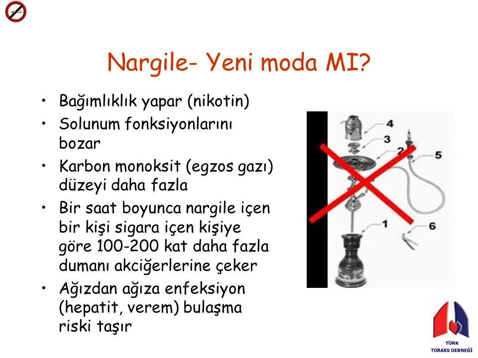 Nargile- Yeni moda MI? Bağımlıklık yapar (nikotin) Solunum fonksiyonlarını bozar Karbon monoksit (egzos gazı) düzeyi daha fazla Bir saat boyunca nargi