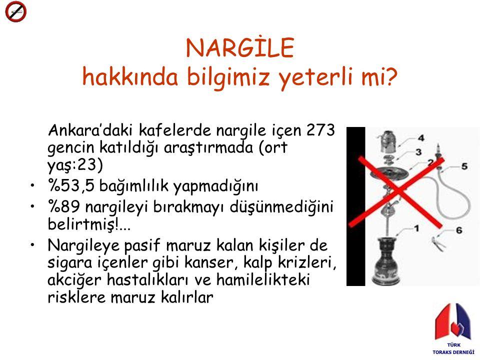 NARGİLE hakkında bilgimiz yeterli mi? Ankara'daki kafelerde nargile içen 273 gencin katıldığı araştırmada (ort yaş:23) %53,5 bağımlılık yapmadığını %8