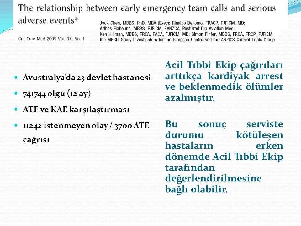 Avustralya'da 23 devlet hastanesi 741744 olgu (12 ay) ATE ve KAE karşılaştırması 11242 istenmeyen olay / 3700 ATE çağrısı Acil Tıbbi Ekip çağırıları a