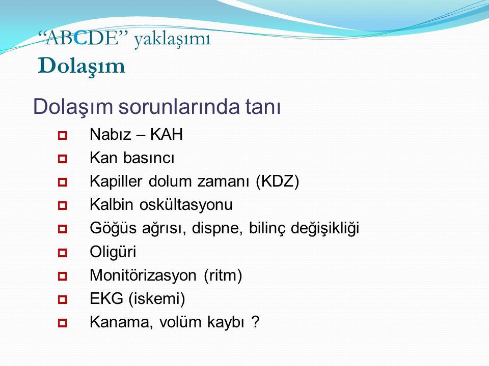  Nabız – KAH  Kan basıncı  Kapiller dolum zamanı (KDZ)  Kalbin oskültasyonu  Göğüs ağrısı, dispne, bilinç değişikliği  Oligüri  Monitörizasyon