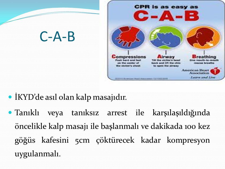 C-A-B İKYD'de asıl olan kalp masajıdır. Tanıklı veya tanıksız arrest ile karşılaşıldığında öncelikle kalp masajı ile başlanmalı ve dakikada 100 kez gö