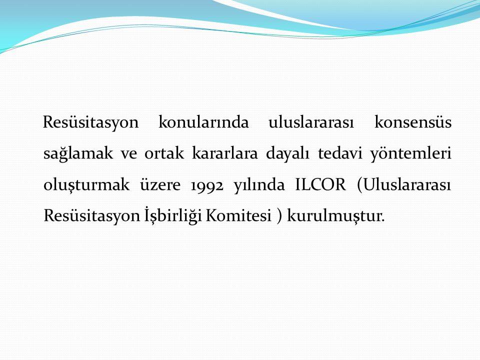 1992 – ILCOR (ILCOR: International Liaison Committee on Resuscitation)KPR de yapılması gereken işlemlerin belli bir biçinde yapılması için öneri niteliğinde kararlar yayımladı.