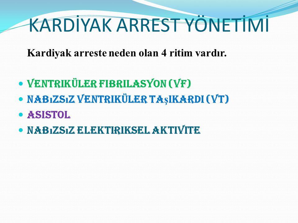 KARDİYAK ARREST YÖNETİMİ Kardiyak arreste neden olan 4 ritim vardır. Ventriküler Fibrilasyon (VF) Nab ı zs ı z ventriküler ta ş ikardi (VT) Asistol Na