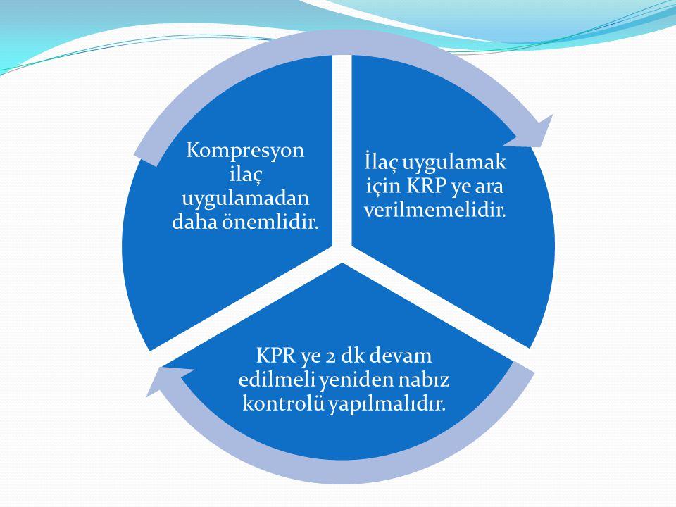 İlaç uygulamak için KRP ye ara verilmemelidir. KPR ye 2 dk devam edilmeli yeniden nabız kontrolü yapılmalıdır. Kompresyon ilaç uygulamadan daha önemli