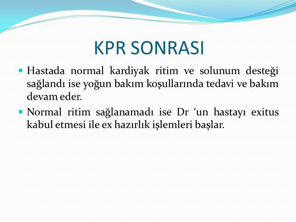 KPR SONRASI Hastada normal kardiyak ritim ve solunum desteği sağlandı ise yoğun bakım koşullarında tedavi ve bakım devam eder. Normal ritim sağlanamad