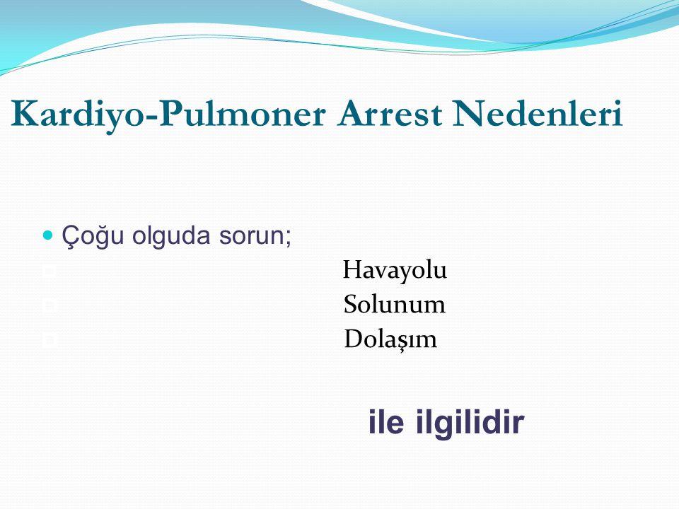 Kardiyo-Pulmoner Arrest Nedenleri Çoğu olguda sorun;  Havayolu  Solunum  Dolaşım ile ilgilidir