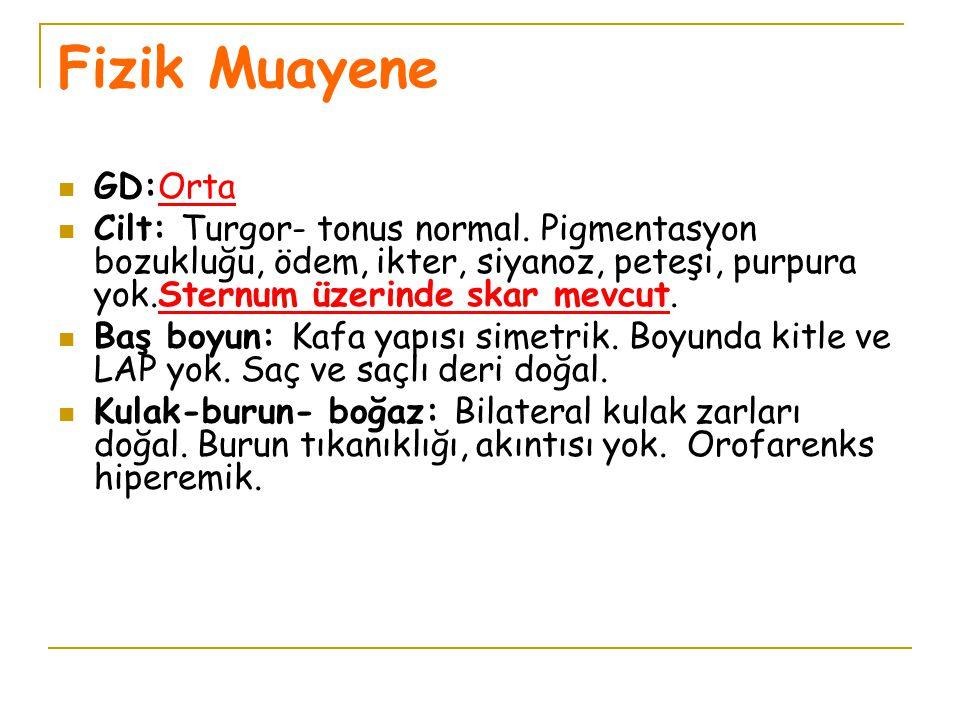 Fizik Muayene GD:Orta Cilt: Turgor- tonus normal. Pigmentasyon bozukluğu, ödem, ikter, siyanoz, peteşi, purpura yok.Sternum üzerinde skar mevcut. Baş