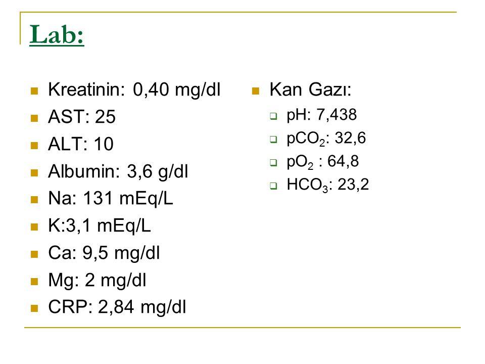 Lab: Kreatinin: 0,40 mg/dl AST: 25 ALT: 10 Albumin: 3,6 g/dl Na: 131 mEq/L K:3,1 mEq/L Ca: 9,5 mg/dl Mg: 2 mg/dl CRP: 2,84 mg/dl Kan Gazı:  pH: 7,438