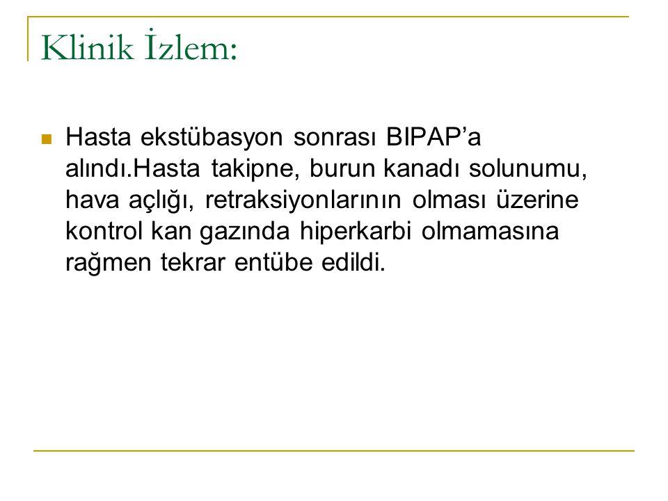 Klinik İzlem: Hasta ekstübasyon sonrası BIPAP'a alındı.Hasta takipne, burun kanadı solunumu, hava açlığı, retraksiyonlarının olması üzerine kontrol ka