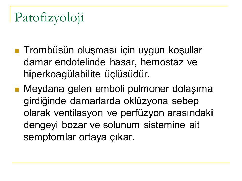 Patofizyoloji Trombüsün oluşması için uygun koşullar damar endotelinde hasar, hemostaz ve hiperkoagülabilite üçlüsüdür. Meydana gelen emboli pulmoner