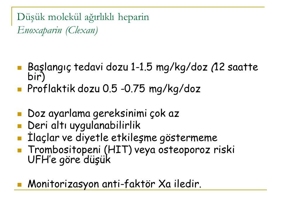 Düşük molekül ağırlıklı heparin Enoxaparin (Clexan) Başlangıç tedavi dozu 1-1.5 mg/kg/doz (12 saatte bir) Proflaktik dozu 0.5 -0.75 mg/kg/doz Doz ayar