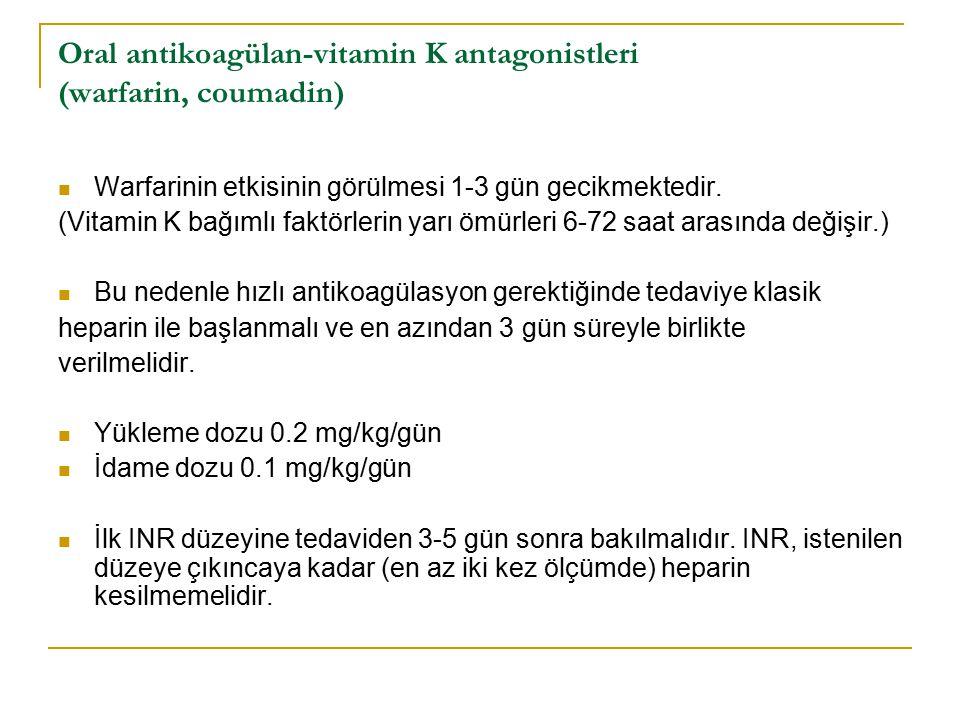 Oral antikoagülan-vitamin K antagonistleri (warfarin, coumadin) Warfarinin etkisinin görülmesi 1-3 gün gecikmektedir. (Vitamin K bağımlı faktörlerin y