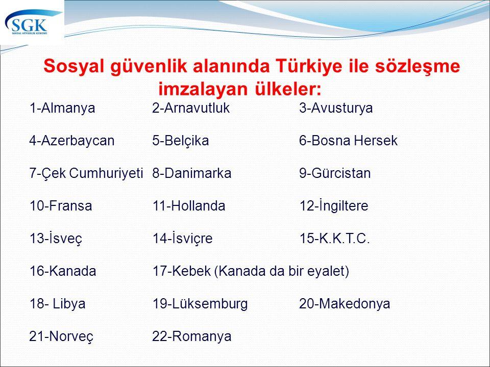 Sosyal güvenlik alanında Türkiye ile sözleşme imzalayan ülkeler: 1-Almanya 2-Arnavutluk 3-Avusturya 4-Azerbaycan 5-Belçika 6-Bosna Hersek 7-Çek Cumhuriyeti 8-Danimarka 9-Gürcistan 10-Fransa 11-Hollanda 12-İngiltere 13-İsveç 14-İsviçre 15-K.K.T.C.