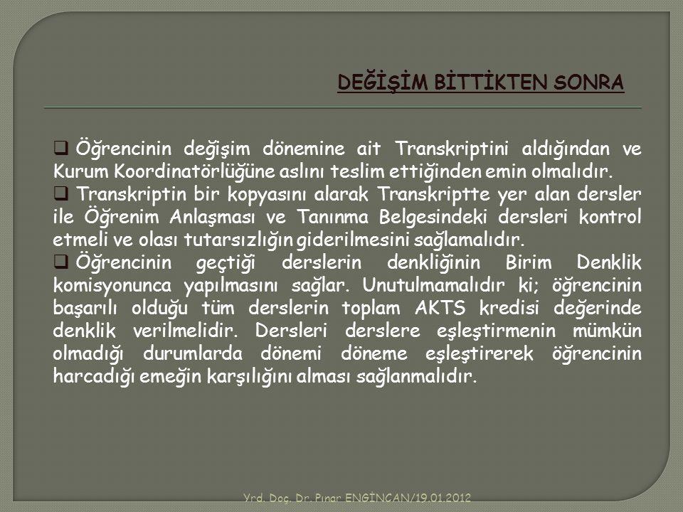 Yrd. Doç. Dr. Pınar ENGİNCAN/19.01.2012 DEĞİŞİM BİTTİKTEN SONRA  Öğrencinin değişim dönemine ait Transkriptini aldığından ve Kurum Koordinatörlüğüne
