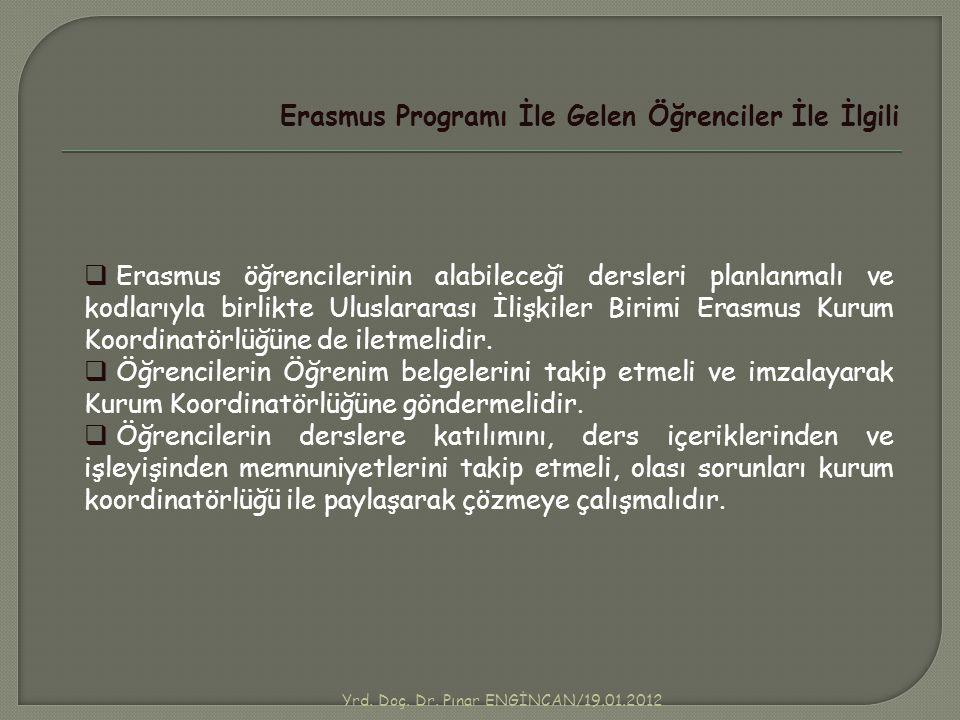 Yrd. Doç. Dr. Pınar ENGİNCAN/19.01.2012 Erasmus Programı İle Gelen Öğrenciler İle İlgili  Erasmus öğrencilerinin alabileceği dersleri planlanmalı ve