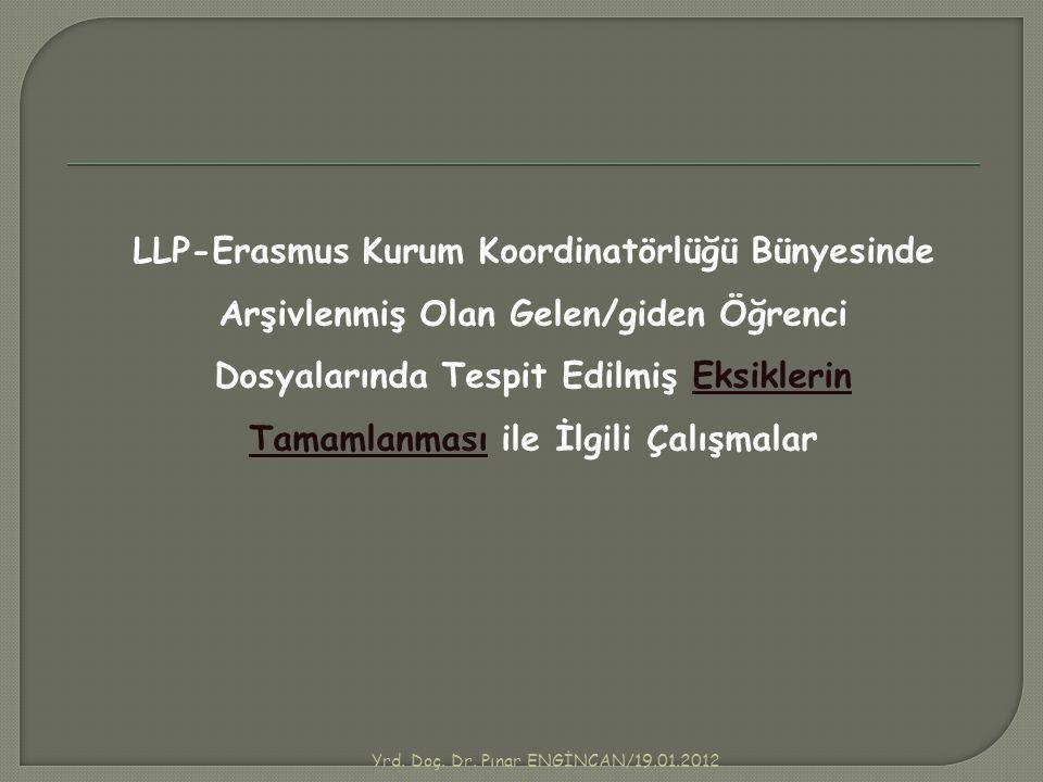 LLP-Erasmus Kurum Koordinatörlüğü Bünyesinde Arşivlenmiş Olan Gelen/giden Öğrenci Dosyalarında Tespit Edilmiş Eksiklerin Tamamlanması ile İlgili Çalış