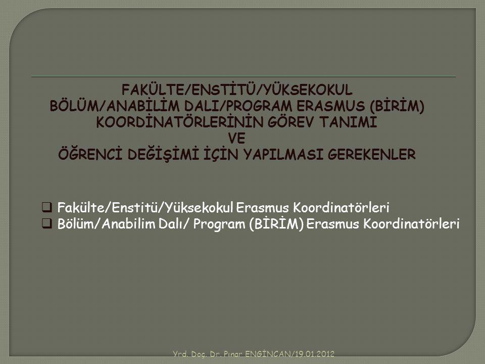 Yrd. Doç. Dr. Pınar ENGİNCAN/19.01.2012 FAKÜLTE/ENSTİTÜ/YÜKSEKOKUL BÖLÜM/ANABİLİM DALI/PROGRAM ERASMUS (BİRİM) KOORDİNATÖRLERİNİN GÖREV TANIMI VE ÖĞRE