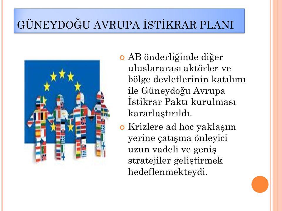 GÜNEYDOĞU AVRUPA İSTİKRAR PLANI AB önderliğinde diğer uluslararası aktörler ve bölge devletlerinin katılımı ile Güneydoğu Avrupa İstikrar Paktı kurulm