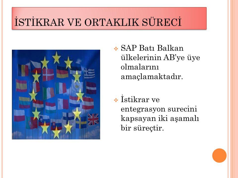 İSTİKRAR VE ORTAKLIK SÜRECİ  SAP Batı Balkan ülkelerinin AB'ye üye olmalarını amaçlamaktadır.  İstikrar ve entegrasyon surecini kapsayan iki aşamalı