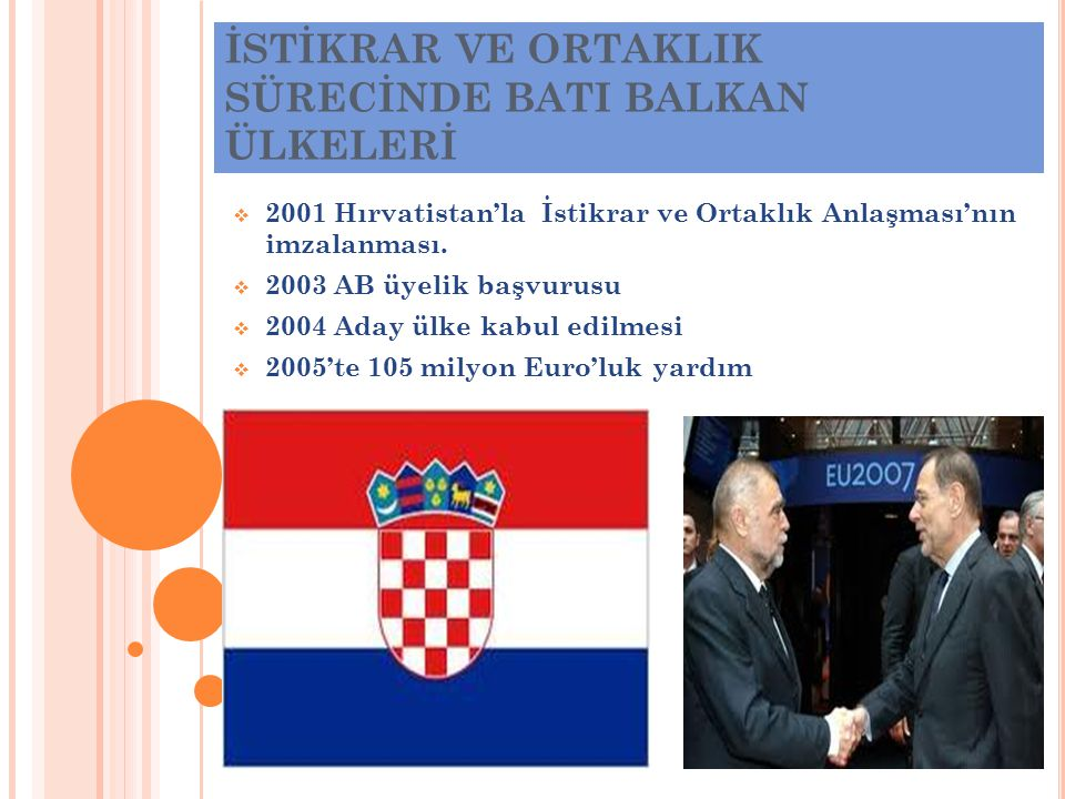 İSTİKRAR VE ORTAKLIK SÜRECİNDE BATI BALKAN ÜLKELERİ  2001 Hırvatistan'la İstikrar ve Ortaklık Anlaşması'nın imzalanması.  2003 AB üyelik başvurusu 