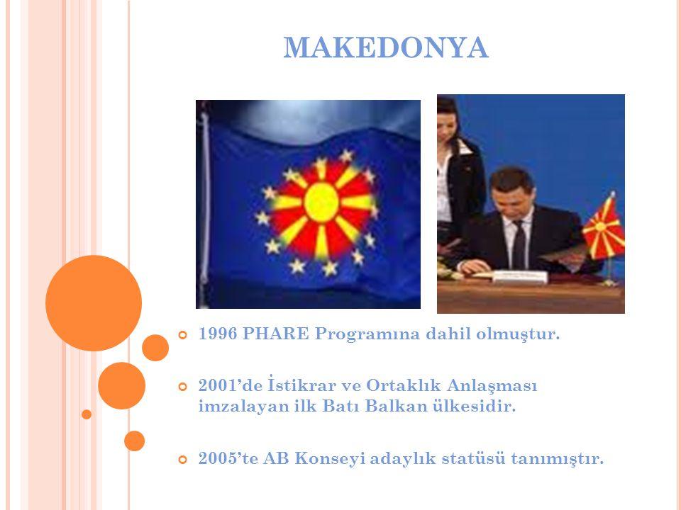 MAKEDONYA 1996 PHARE Programına dahil olmuştur. 2001'de İstikrar ve Ortaklık Anlaşması imzalayan ilk Batı Balkan ülkesidir. 2005'te AB Konseyi adaylık