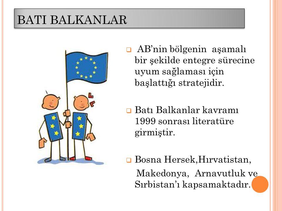 BATI BALKANLAR  AB'nin bölgenin aşamalı bir şekilde entegre sürecine uyum sağlaması için başlattığı stratejidir.  Batı Balkanlar kavramı 1999 sonras