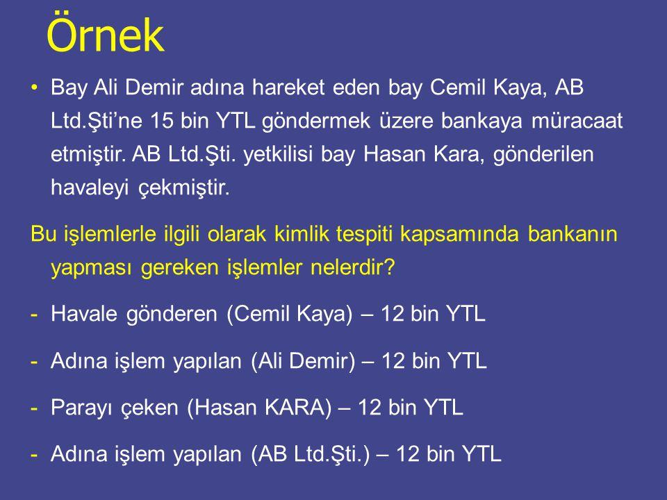 Bay Ali Demir adına hareket eden bay Cemil Kaya, AB Ltd.Şti'ne 15 bin YTL göndermek üzere bankaya müracaat etmiştir.