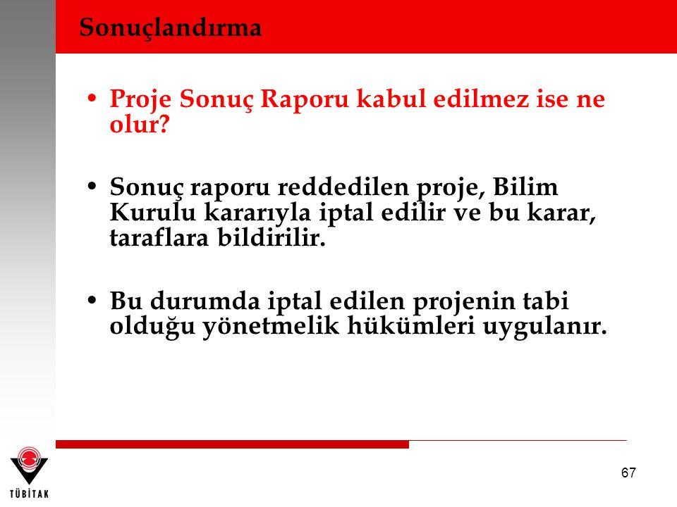 67 Proje Sonuç Raporu kabul edilmez ise ne olur? Sonuç raporu reddedilen proje, Bilim Kurulu kararıyla iptal edilir ve bu karar, taraflara bildirilir.