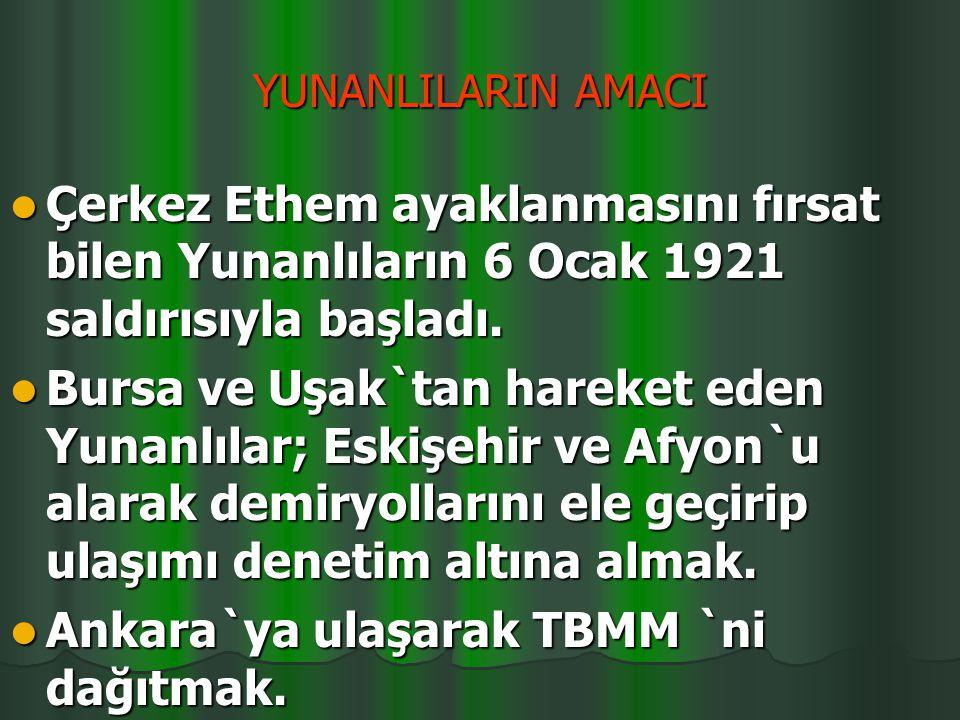 6-10 OCAK 1921 NEDENLERİ: NEDENLERİ: Yeni kurulan düzenli orduyu yok etmek Yeni kurulan düzenli orduyu yok etmek Sevr'i TBMM'ye kabul ettirmek Sevr'i