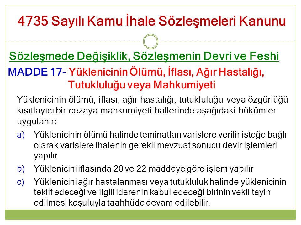 Sözleşmede Değişiklik, Sözleşmenin Devri ve Feshi MADDE 17- Yüklenicinin Ölümü, İflası, Ağır Hastalığı, Tutukluluğu veya Mahkumiyeti Yüklenicinin ölüm