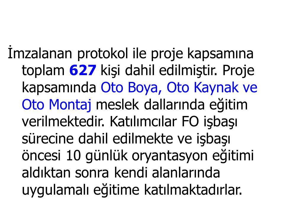 İmzalanan protokol ile proje kapsamına toplam 627 kişi dahil edilmiştir.
